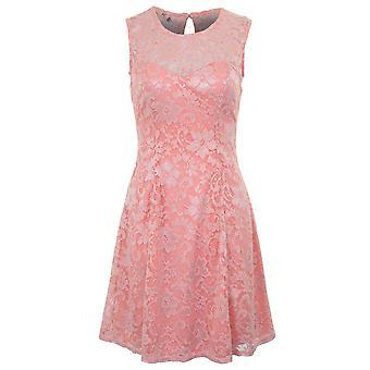 Dames mouwloos Floral Lace bekleed Skater Flare belangrijkste gat uitgesneden terug jurk
