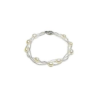 Bracelet twist woman in Silver 925 and cultured white pearls