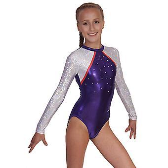 Turnanzug / Gymnastikanzug »Sandra« (lila,weiss,orangerot) mit langem Arm