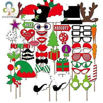50 stks/set Christmas Party Photo Booth Grappige Glazen Snor Kerst Xmas Party Supplies Decoratie Foto Props GYH