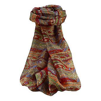 Mora seda bufanda larga tradicional Gosthani escarlata de Pashmina y seda