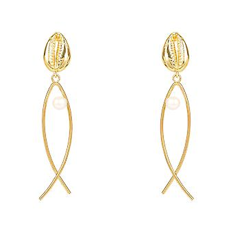 Cowrie Sea Shell Fish Pearl Earrings 925 Sterling Silver Yellow Gold Long Big
