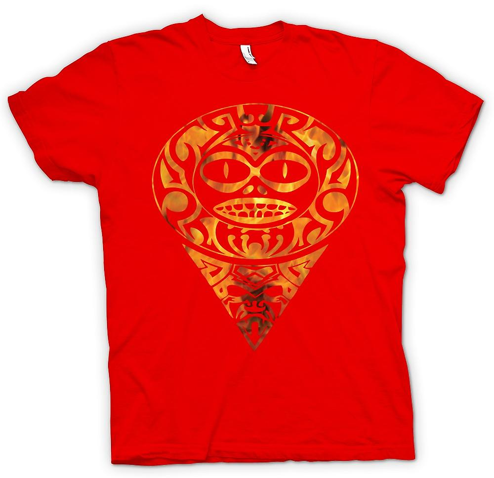 Heren T-shirt - Azteekse Tattoo Flames - Tribal