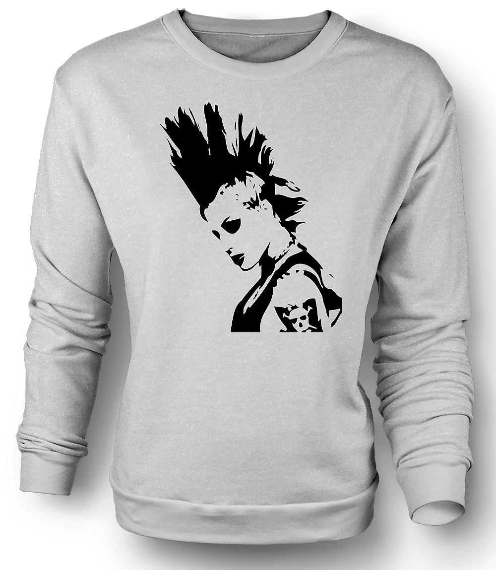Mens Sweatshirt punkrockare mohikan flicka - BW - Pop Art