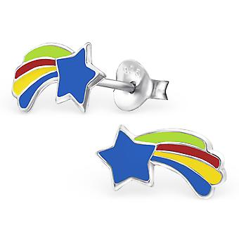 Star - 925 Sterling Silver Colourful Ear Studs - W12443X