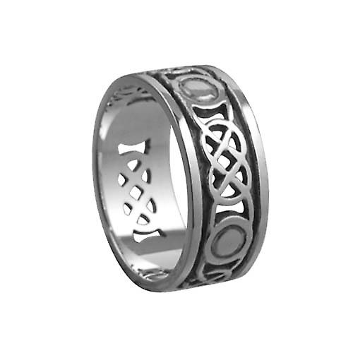 Silver oxidized 8mm pierced Celtic Wedding Ring Size Q