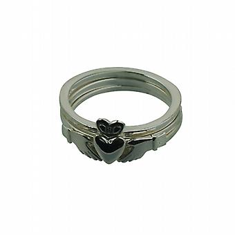 Silver 15mm 3 piece Claddagh Ring Size Z