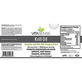 VitaSense Krill Oil 1000 Mg - Brain Heart & Eye Health - 60 Softgels