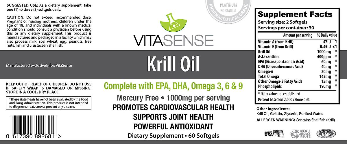 VitaSense Krill Oil 1000 Mg - Brain Heart & Eye Health - 60 Softgels