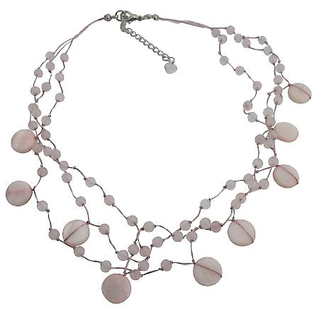 Cool Light Pink Shell Necklace Fancy Pink Beads Necklace