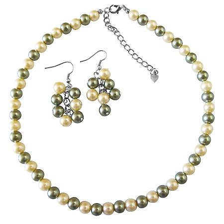 Find Your Cheap Wedding Jewelry Pistachu Pearls Daffodill Necklace Set