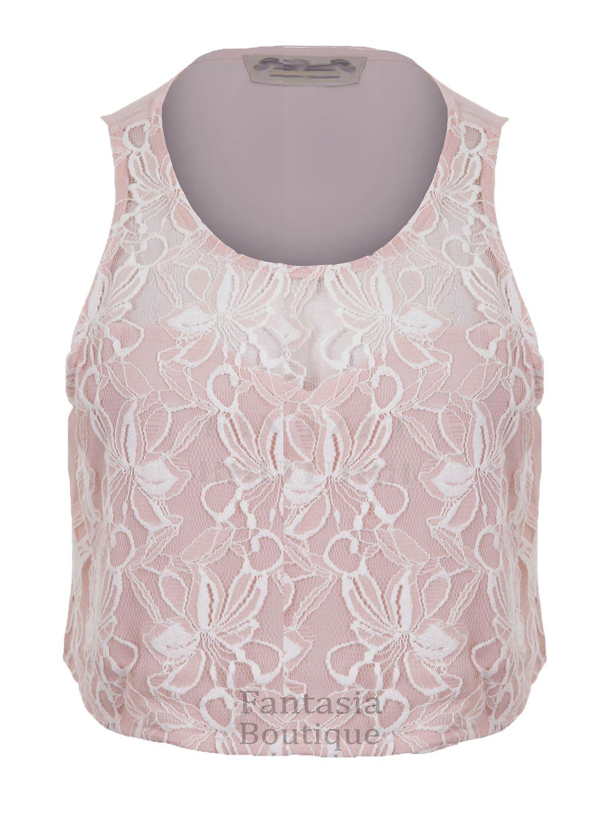 New Ladies Sleeveless Floral Lace Crop Vest Top Women's Blouse
