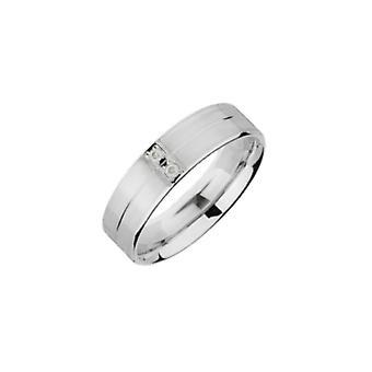Star Wedding Rings Palladium Matt Centre And Polished Groove 0.04 Carat Diamond 5mm Wedding Ring