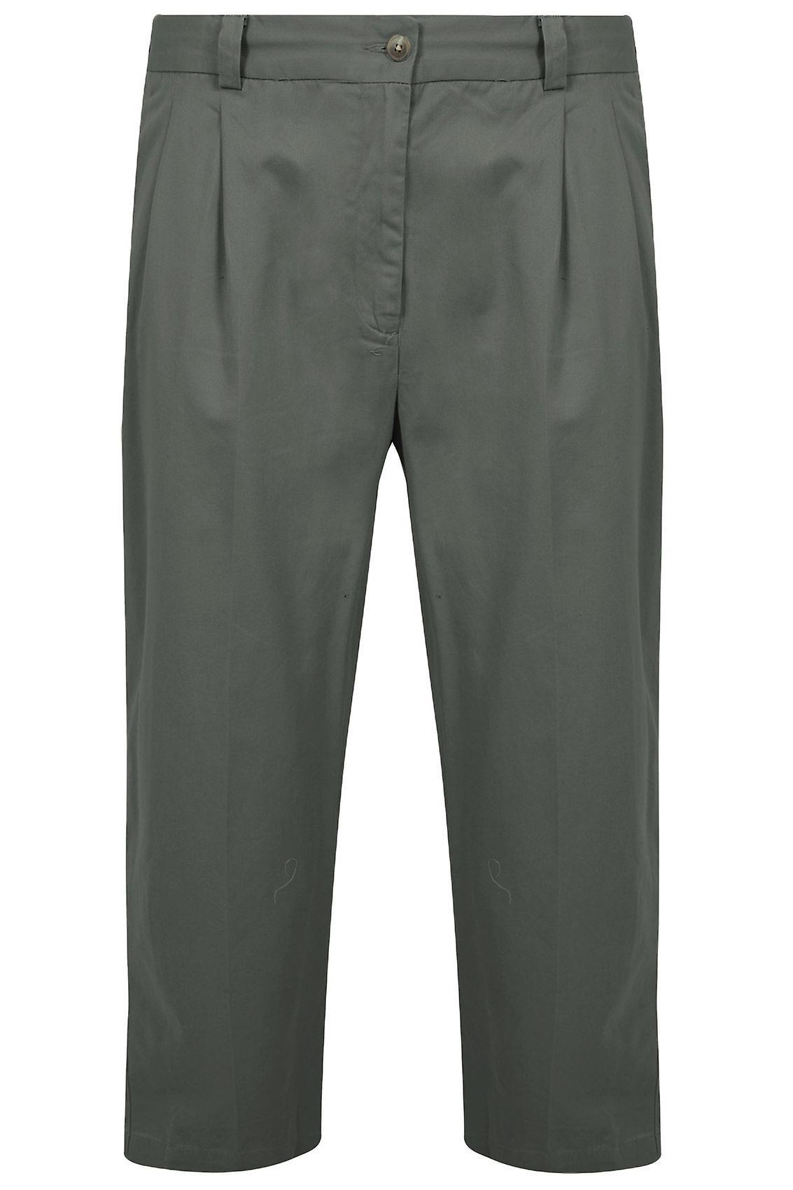 Khaki strekk midje Chino bukser med folder