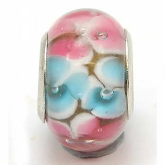 TOC BEADZ Pink & Blue Flower 9mm Glass Slide-on Bead