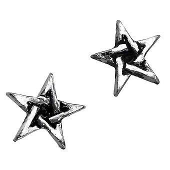 Alchimie gothique pentagramme étain boucles d'oreilles
