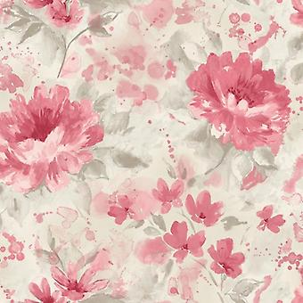 Floral Red Grey Wallpaper Water Colour Effect Paste The Wall Holden Decor