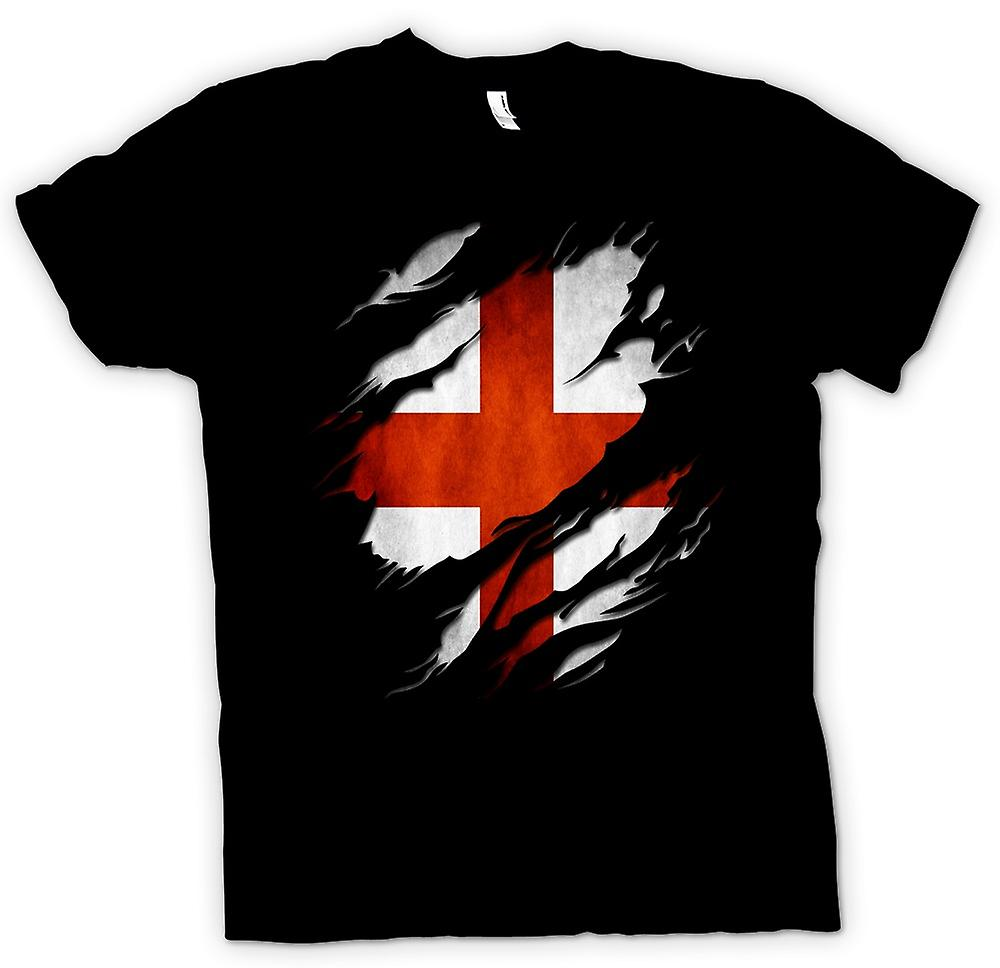 Mens T-shirt - St Georges English Flag Ripped Effect