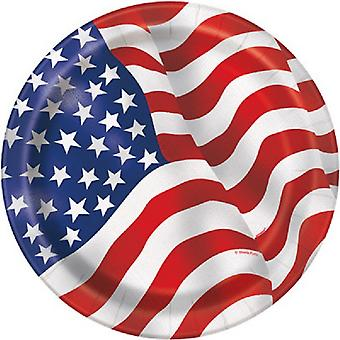 Unique Party 9 Inch USA Flag Plates (Pack Of 8)
