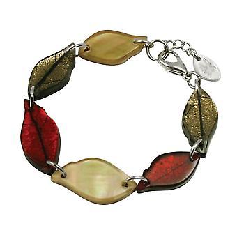 Eternal Collection Laurel Leaves Autumn Shell Silvered Resin Bracelet