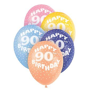 Unique Party 12 Inch 90th Birthday Balloon (Pack Of 5)