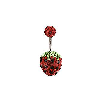 Jewelco London Surgical Steel Red Black Green Round Crystal Strawberry Belly Bar Silver Ball