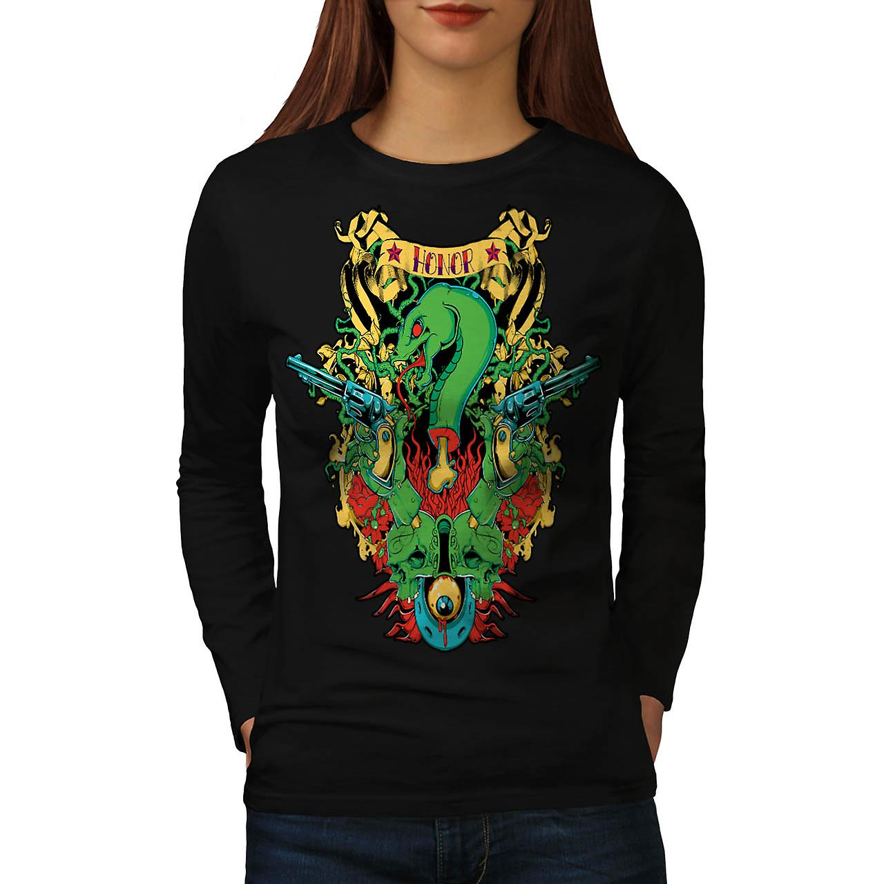 Honor Snake Gun Fantasy Snake Myth Women Black Long Sleeve T-shirt | Wellcoda