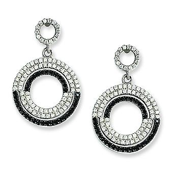 Sterling Silver and CZ Brilliant Embers Circle Dangle Post Earrings