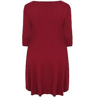SCARLETT & JO Royal Red Swing Dress With Leaf Fabric Collar