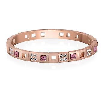 18K Gold Plated Pink Checkered Frame Austrian Crystals Bangle, 15cm