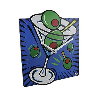 Brightly Colored Pop Art Style Martini Wall Clock