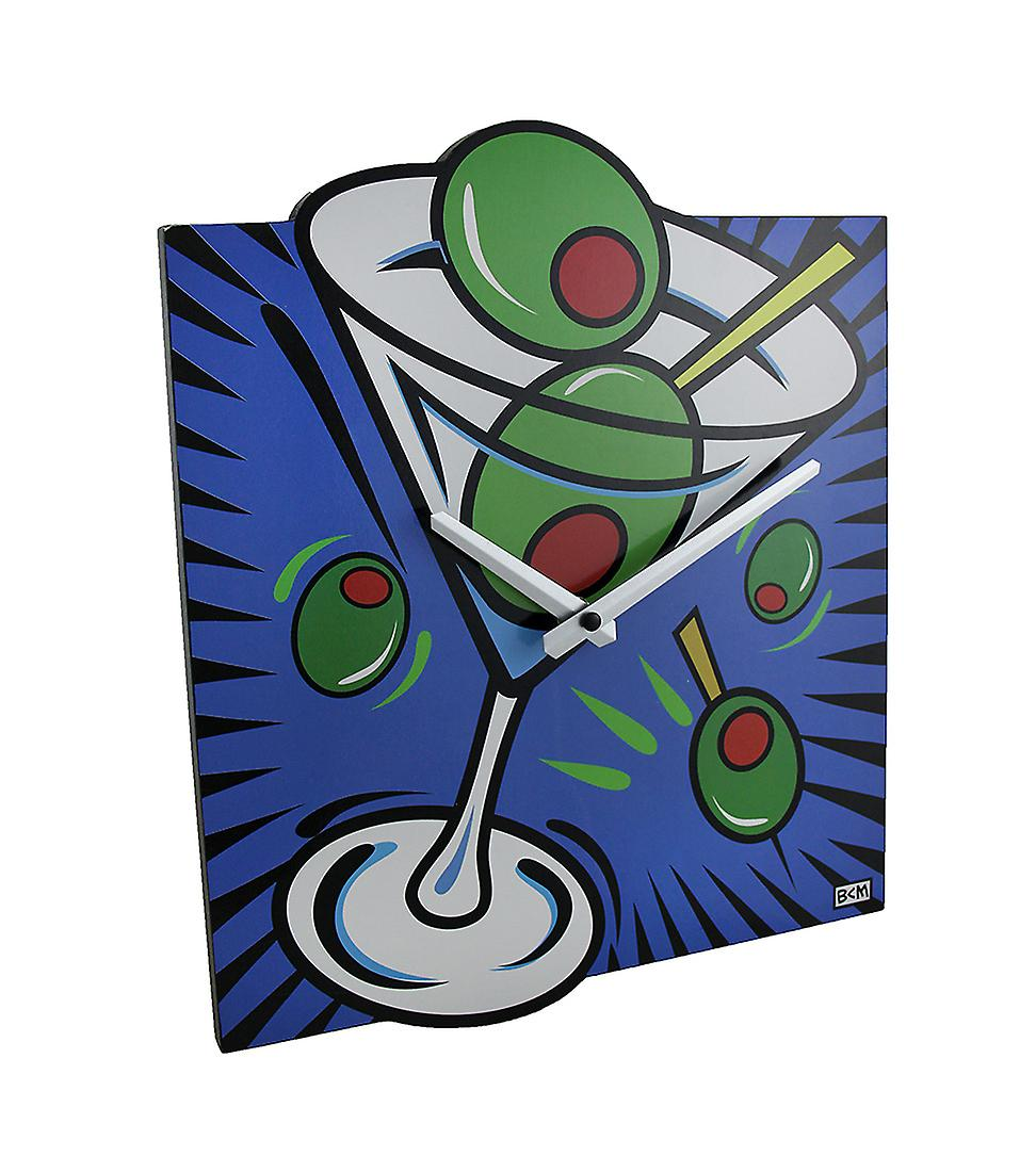 Brightly Style Pop Martini Art Clock Wall Colored ZXiTOPuk