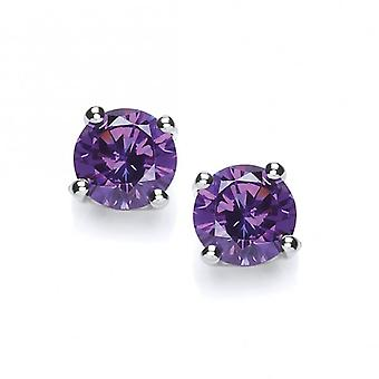 Cavendish French Sterling Silver Simple Amethyst Cubic Zirconia Solitaire Stud Earrings