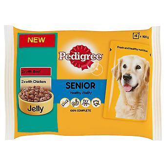 Stamtavla påse Jelly Senior kyckling & nötkött 4x100g (Pack 13)