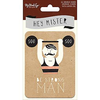 Hey Mister recto-verso Journal cartes 24/Pkg-3