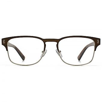 Hook LDN Holt Stainless Steel Keyhole Rectangle Glasses In Matt Gold