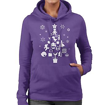 Super Mario Bros Christmas Tree Silhouette White Women's Hooded Sweatshirt