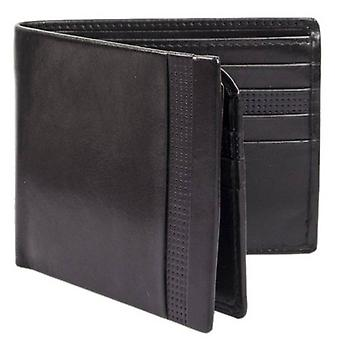Dents Smooth Punched Leather Bifold Wallet - Black