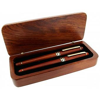 Gift Time Products Deluxe Box with Roller Ball Pen and Cartridge Pen - Dark Brown/Gold