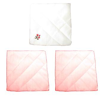 Womens/Ladies Cotton Handkerchiefs With Embroidered Flowers (Pack Of 3)