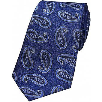 David Van Hagen Edwardian Paisley Tapestry Silk Tie - Blue