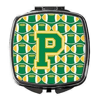 Carolines Treasures  CJ1069-PSCM Letter P Football Green and Gold Compact Mirror