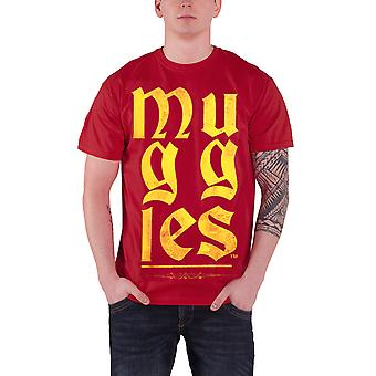 Harry Potter T Shirt Classic Distressed Muggles Logo Official Mens New Red