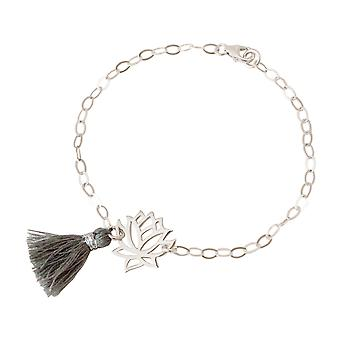 GEMSHINE ladies bracelet made of 925 Silver with YOGA Lotus Flower and gray cotton tassel. Excellent quality and workmanship. Made in Madrid, Spain. In the elegant jewelry with gift box.