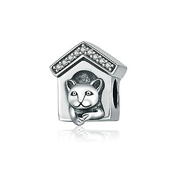 Sterling silver charm Dog home SCC194