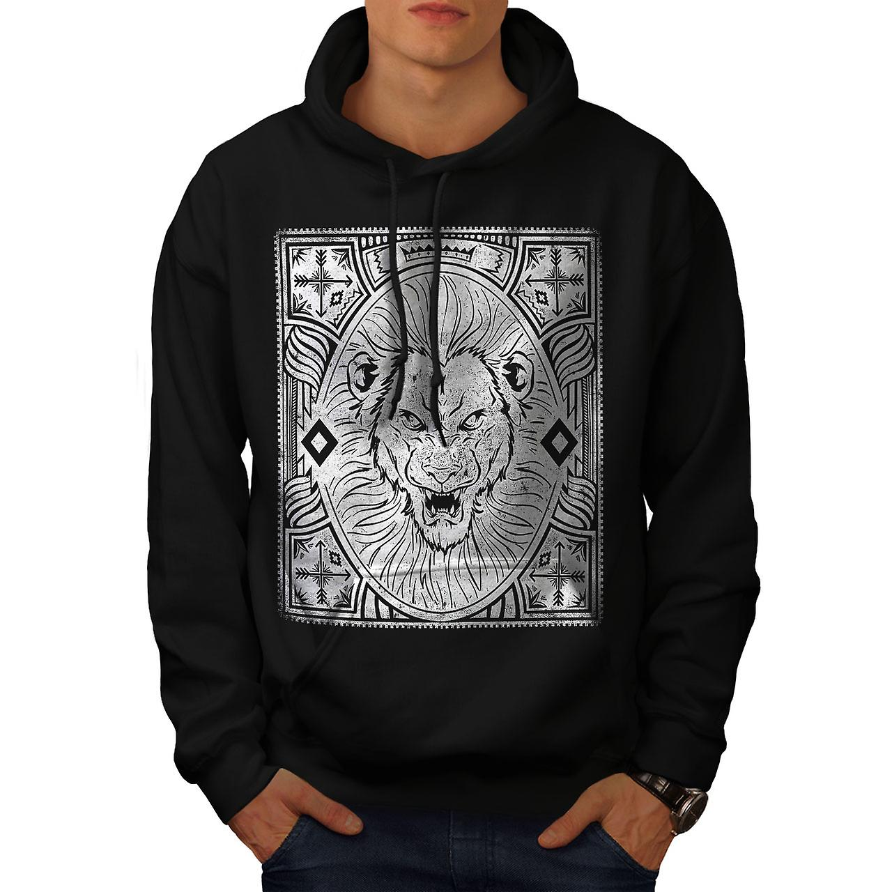 Angry Lion Face Vintage Men Black Hoodie | Wellcoda