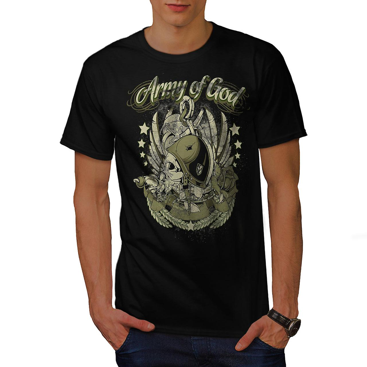 Army Of God Pilot Skull Men Black T-shirt | Wellcoda