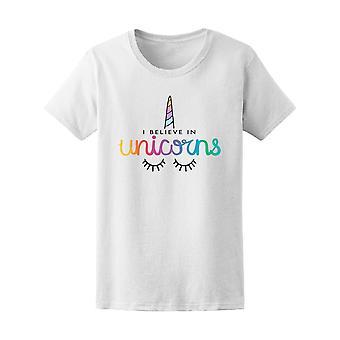 Ich glaube an Einhörner bunt T-Shirt Frauen-Bild von Shutterstock