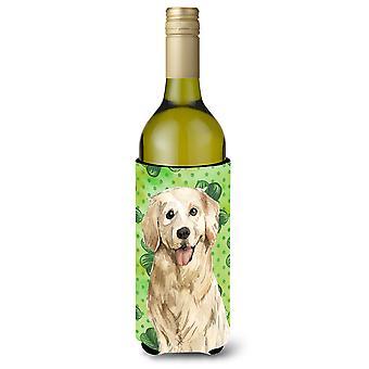 Shamrocks Golden Retriever Wine Bottle Beverge Insulator Hugger