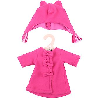 Bigjigs Toys Pink Rag Doll Fleece Coat & Hat (38cm) Clothing Outfit Dress Up